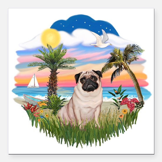 """Palms - Fawn Pug 17.png Square Car Magnet 3"""" x 3"""""""