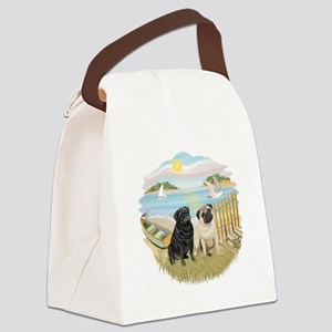 Row Boat-TwoPugs (F+B) Canvas Lunch Bag