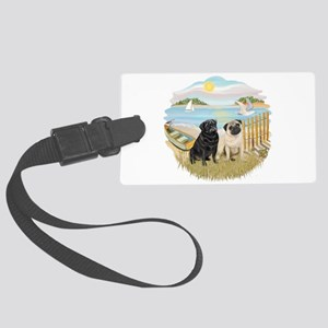 Row Boat-TwoPugs (F+B) Large Luggage Tag