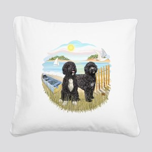 RowBoat-TwoblackPWD Square Canvas Pillow