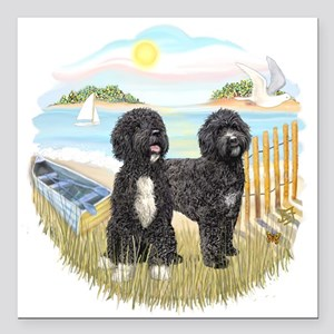 """RowBoat-TwoblackPWD Square Car Magnet 3"""" x 3"""""""