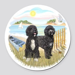 RowBoat-TwoblackPWD Round Car Magnet