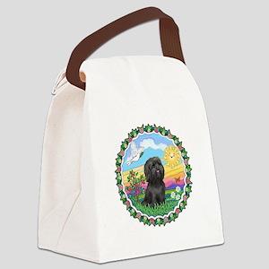 Wreath1-Black Shih Tzu Canvas Lunch Bag
