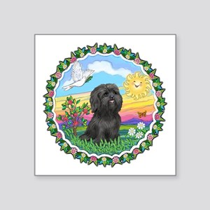 "Wreath1-Black Shih Tzu Square Sticker 3"" x 3"""