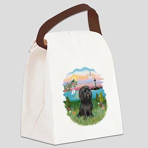 LightHouse-Black Shih Tzu Canvas Lunch Bag