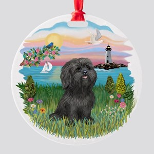 LightHouse-Black Shih Tzu Round Ornament