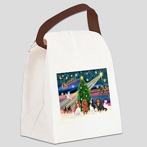 XmasMagic/4 Cavaliers Canvas Lunch Bag
