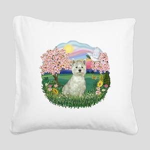 Blossoms-Westie 8 Square Canvas Pillow