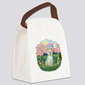 Blossoms-Westie 8 Canvas Lunch Bag