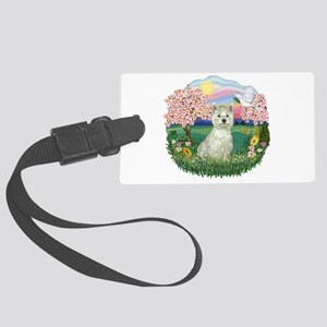 Blossoms-Westie 8 Large Luggage Tag