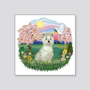 "Blossoms-Westie 8 Square Sticker 3"" x 3"""