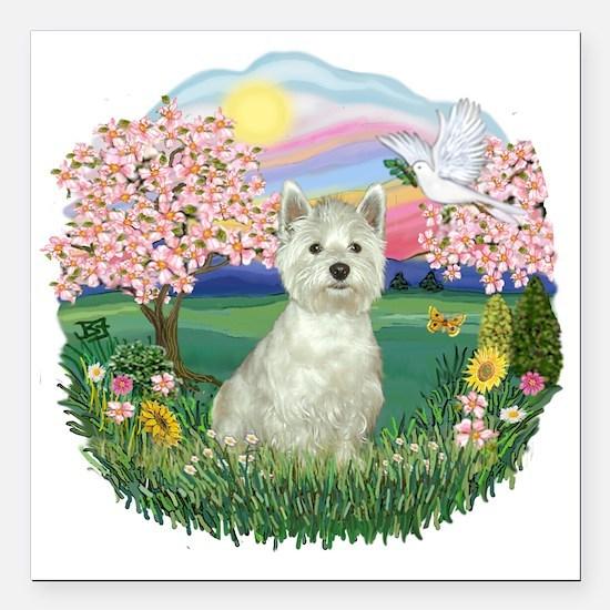 """Blossoms-Westie 8.png Square Car Magnet 3"""" x 3"""""""
