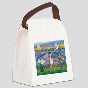 Lilies/Chihuahua Canvas Lunch Bag