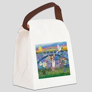 Lilies/Chihuahua Canvas Lunch Bag