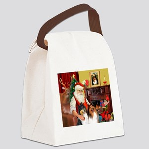Santa's Collie pair Canvas Lunch Bag