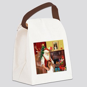 Santa's Collie Canvas Lunch Bag