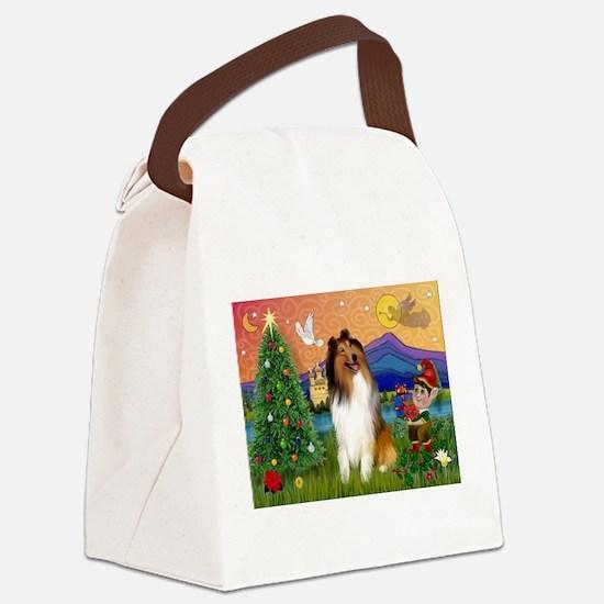 Xmas Fantasy/Collie Canvas Lunch Bag
