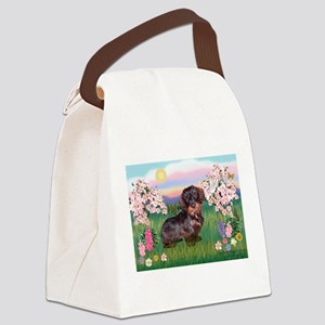 Blossoms / Dachshund Canvas Lunch Bag