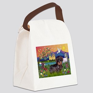 Fantasy Land / Dachshund (WH) Canvas Lunch Bag