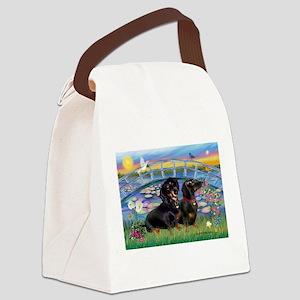 Sunrise Lilies / Two Dachshun Canvas Lunch Bag