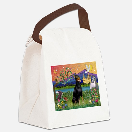 Doberman Fantasyland Canvas Lunch Bag