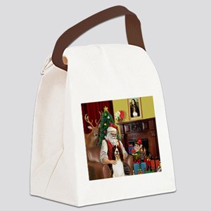 Santa & His Springer Canvas Lunch Bag