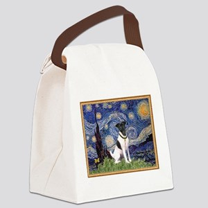 Starry Night Fox Terrier (#1) Canvas Lunch Bag