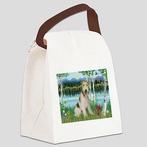 Wire Fox Terrier in Birches Canvas Lunch Bag