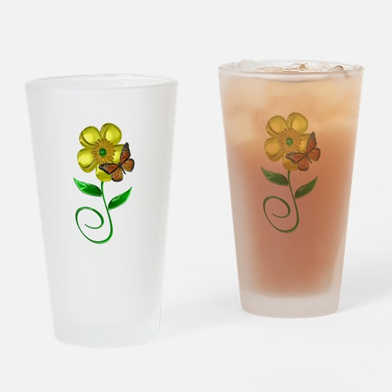 Monarch and Buttercup Drinking Glass