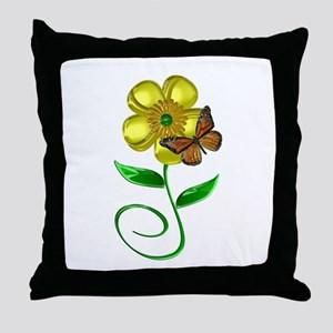 Monarch and Buttercup Throw Pillow