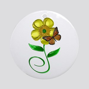 Monarch and Buttercup Ornament (Round)