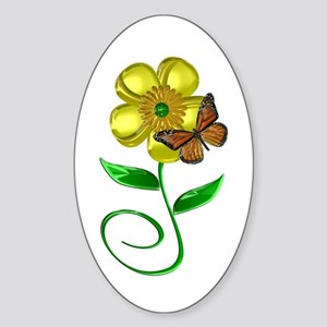 Monarch and Buttercup Sticker (Oval)