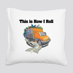 3-garbage truck Square Canvas Pillow