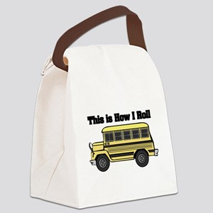short yellow bus Canvas Lunch Bag