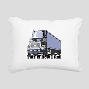 tractor trailer Rectangular Canvas Pillow