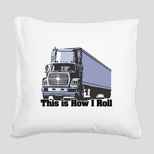 tractor trailer Square Canvas Pillow