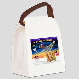 XmasSunrise/3 Goldens Canvas Lunch Bag