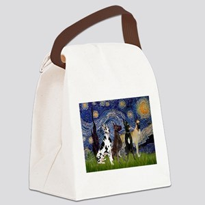 Starry Night / 4 Great Danes Canvas Lunch Bag