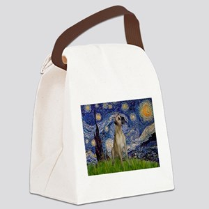 TILE-Starry-GDane-Fawn13-Nat Canvas Lunch Bag