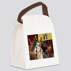 Santa's Great Pyrenees Canvas Lunch Bag