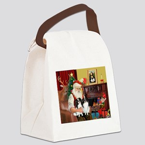 Santa's 2 Japanese Chins Canvas Lunch Bag