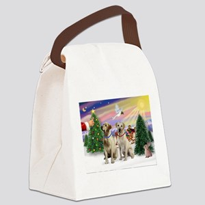 Treat for 2 Yellow Labs Canvas Lunch Bag