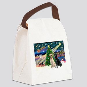 Xmas Magic/2 Labradors (Y+B) Canvas Lunch Bag