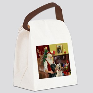 Santa's 2 Labs (Y+B) Canvas Lunch Bag