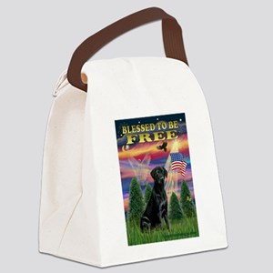 Blessed/Free-Black Lab Canvas Lunch Bag