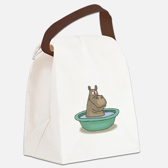hippo in a tub copy.jpg Canvas Lunch Bag