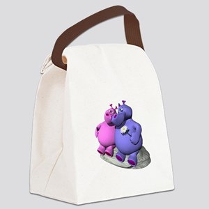 hippos in love copy Canvas Lunch Bag