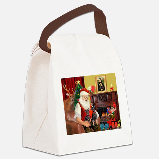 Santa's 2 Mun Pinschers Canvas Lunch Bag