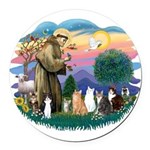 St Francis 2 - 7 Cats Round Car Magnet