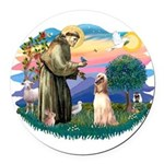 St.Francis #2/ Afghan Hound Round Car Magnet
